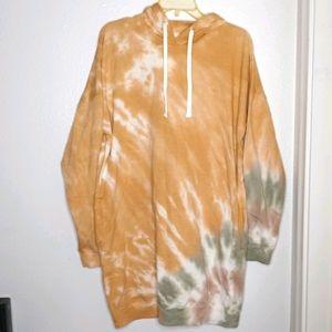NWT Hooded tiedyed sweatshirt dress sz L